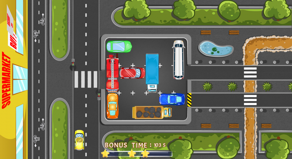 Your task here is to move your red car to the exit. Move the other cars and trucks out of the way so that you can reach it