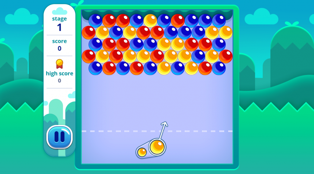 Use your mouse to aim the bubble, and click to shoot. Connect three or more bubbles of the same color to pop them all