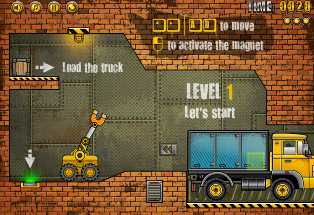 Use your mouse to control the tractor arm and use the arrow keys to move the tractor